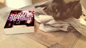 Coco likes to sit in pants and read THE STRINGER.